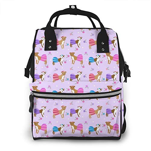 Pitbull Tutus Dogs and Flowers Tutus Cute Girly Purple Fashion Diaper Bags Mummy Backpack Multi Functions Waterproof Large Capacity Nappy Bag Nursing Bag for Baby Care for Traveling