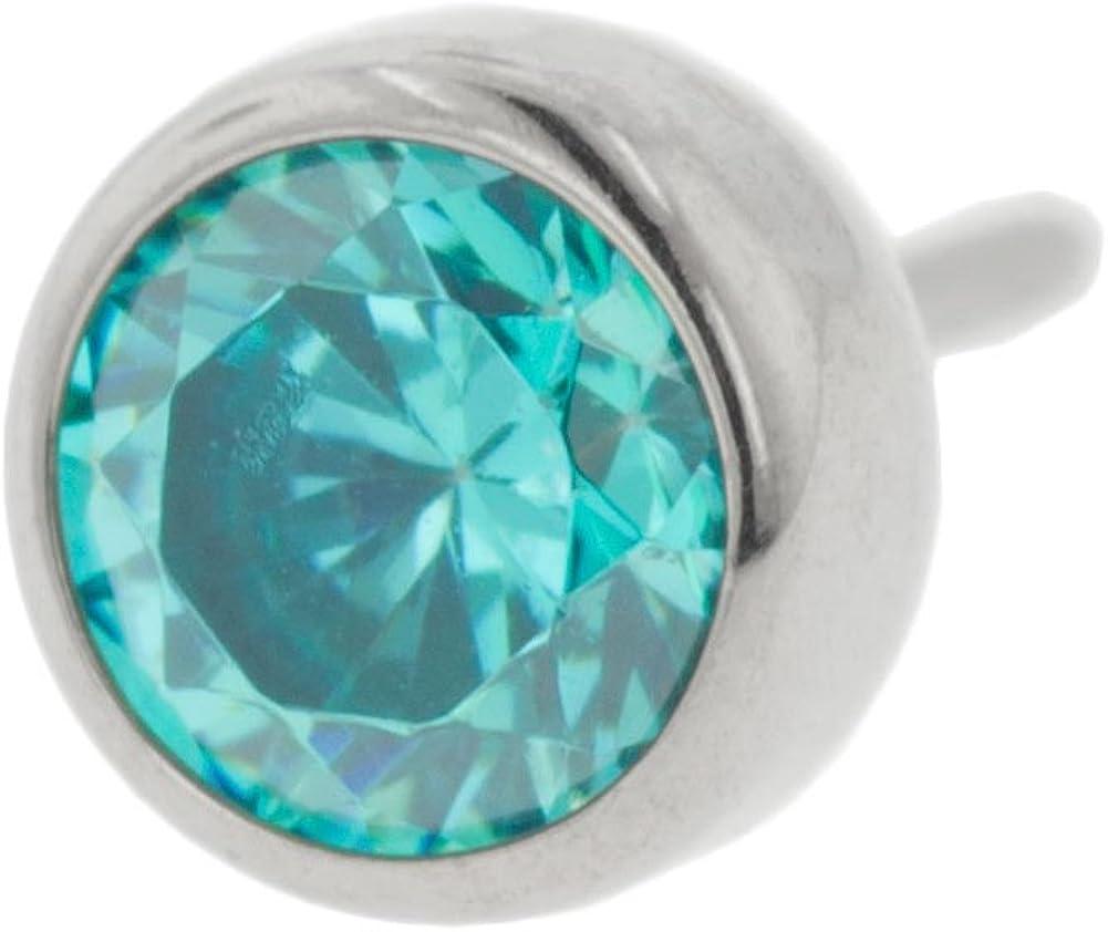 Steel Navel Body Jewelry Threadless Titanium Bezel-Set Gem End: 18g High Polish, Gem: 3mm, Mint Green Gem