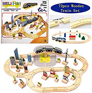 MELIFUN Wooden Train Tracks Full Set 72pcs Track Pack Toys for Kids Todders,Fits Thomas, Brio,Chuggington Play Train Set for Gift
