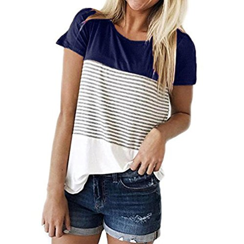 MRULIC Frauen Kurzarm Dreifach Farbe Block Streifen T-Shirt Casual Bluse (EU-44/CN-2XL, Blau)