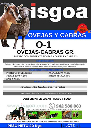 Pienso OVEJAS y Cabras Pasteras 0-1 Granulado. Isgoa