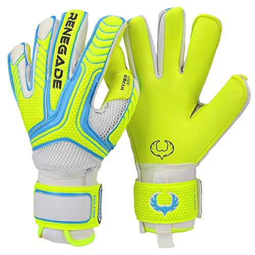 Renegade GK Vulcan Surge Goalie Gloves with Pro-Tek Finger Spines | 3.5+3mm Hyper Grip & 4mm Duratek | Neon Yellow & Blue Soccer Goalkeeper Gloves (Size 7, Youth, Roll-Neg Hybrid Cut, Level 3)