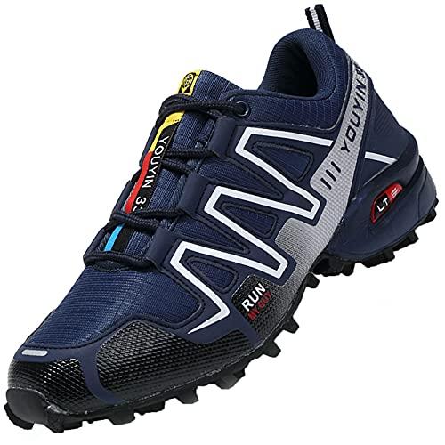 Csgkag Zapatillas Trekking Hombre Zapatos de Senderismo Zapatillas Trail Running Escalada Aire Libre Antideslizantes Ligero Deportivas,Azul,EU41