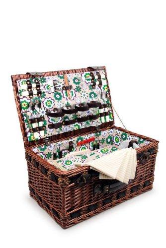"""Picknickkorb """"Deluxe"""" - ein wunderschöner Weidenkorb mit stabilem Tragegriff, für 4 Personen mit allerlei Zubehör und einer herausnehmbaren Kühltasche"""