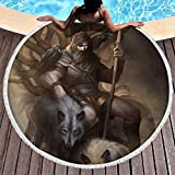 MINNOMO Toalla de playa redonda con borlas del año vikingo, guerrero de dos cuervos de lobo, impresión hippie redonda flecos playa toalla de baño redonda, blanco, talla única
