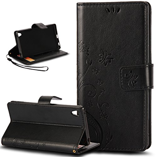 Kompatibel mit Sony Xperia Z4 Hülle,Sony Xperia Z3 Plus Hülle,Malerei Schmetterling PU Lederhülle Flip Hülle Ständer Etui Karten Slot Wallet Tasche Schutzhülle für Sony Xperia Z3+/3 Plus/Z4,Schwarz
