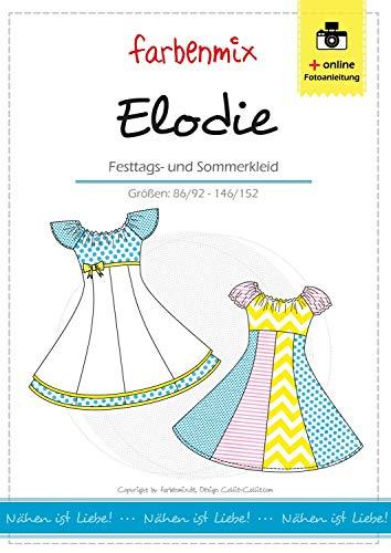 Elodie Farbenmix Schnittmuster (Papierschnittmuster für die Größen 86/92 - 146/152), Kleid