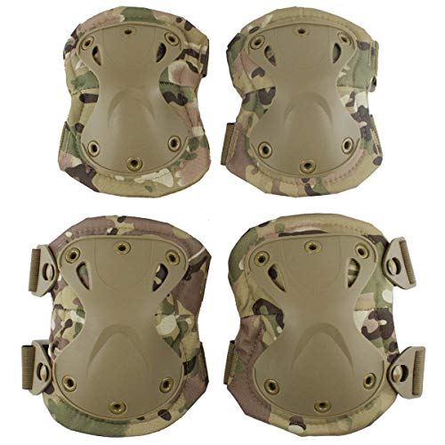 Aoutacc Tactical Combat knie- en elleboogbeschermingsset voor outdoor CS paintball-spel fietsen veiligheid skateboard-uitrusting schaatsen kniebeschermers