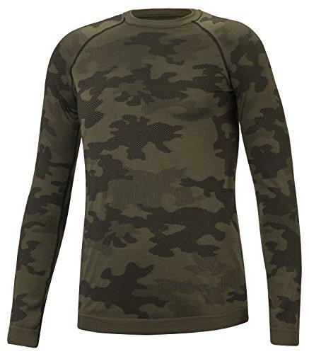 TACTICAL Hommes Dous-Vêtement Fonctionnel Thermoactifs Couche De Base Perméable à L'air Manche Long Pêche Militaire Moro (Kaki, XL)
