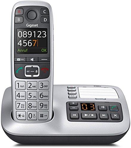 Gigaset E550A Dect-Großtasten-Schnurlostelefon mit Anrufbeatworter, Notruffunktion, schwarz/platin