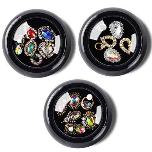 Sethexy 3 Cajas 3D Bling Cristal Diamante de imitación Accesorios para uñas Joyas Decoración Bricolaje Artesanía Gemas Aleación Arte Consejos de uñas Diseño(G)