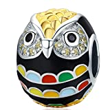 Reiko Abalorio de Búho de Oro,Colgante de Plata de Ley 925,Originales Charm para Pulseras Pandora&Chamilia y Collares,Joyería para Mujer y Niña