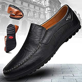 2019 New Fashion Mens Luxury Dress Shoes Male Casual Leather Driving Shoes Formal Shoes Business Office Shoes Plus Size 38-48 Chaussures Pour Hommes(Brown,US 7)
