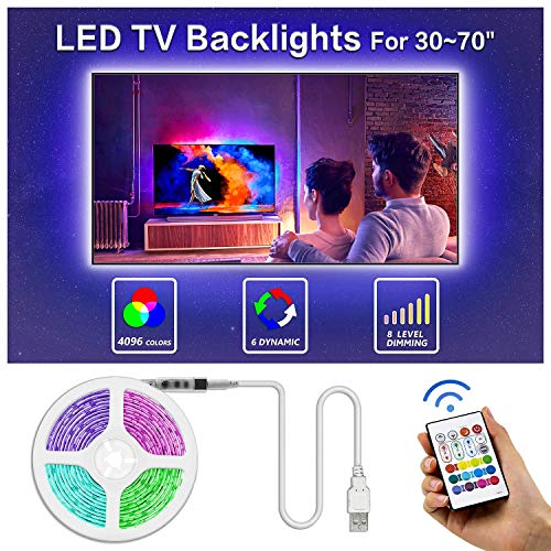 Led TV Backlight, Bason 8.33ft USB Led Lights Strip for TV/Monitor Backlight, Led Strip Light with Remote, TV Bias Lighting for Room Home Movie Decor.(42-50inch) …