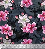 Soimoi Grau Samt Stoff Blätter & Azalee Blume Stoff