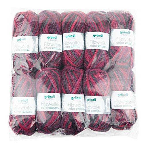 Gründl Color, Vorteilspack: 10 Knäuel à 50 g Filzwolle, Wolle, lila-Bordeaux-anthrazit Multicolor, 31 x 32 x 6 cm