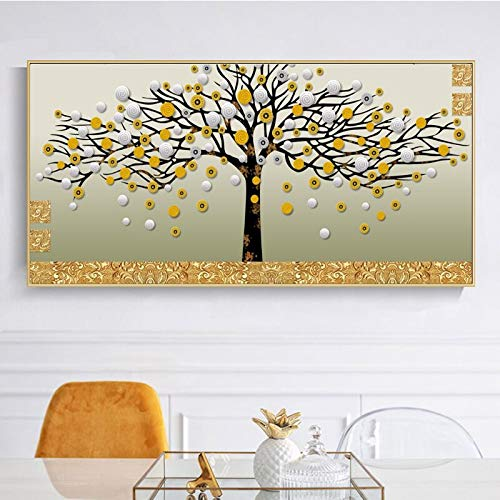 KWzEQ Wandkunst Poster abstrakt Geld Dekoration Baum Wohnzimmer Home Decor,Rahmenlose Malerei,75x150cm