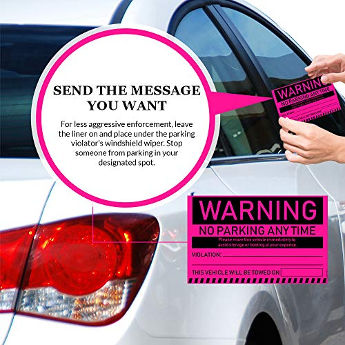"""No Parking Violation Stickers Hard to Remove (Pink) 10-Pack Towing Tags for Illegally Parked Vehicles in Your Lot - Super Sticky Car Permit Notices for Bad or Careless Parking 8"""" x 5"""" by MESS Photo #4"""