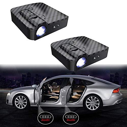 MIVISO Verbesserte Autotür Led Logo Projektor Licht Kein Magnet Drahtlose Lampe Willkommen Ghost Shadow Licht 2 STÜCKE (Kein Magnet)