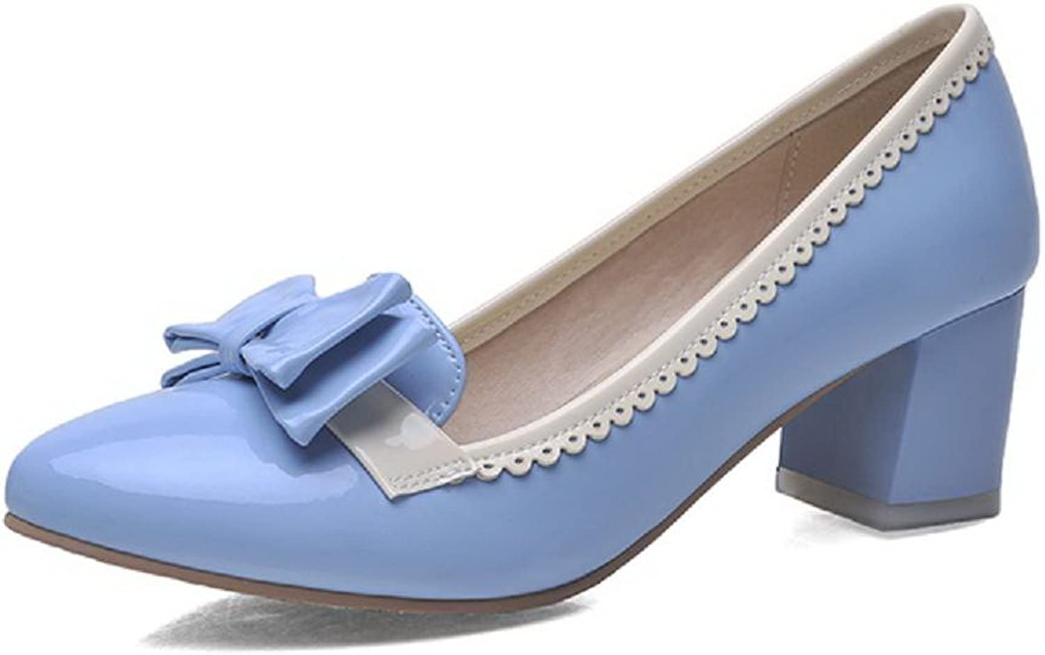 WeenFashion Women's Pull On Kitten Heels Pu Assorted color Pointed Closed Toe Pumps-shoes