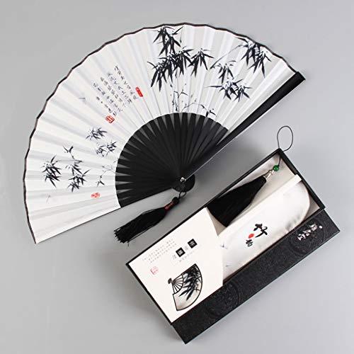ventilador Ventilador portátil plegable plegable del ventilador masculino borla estilo tradicional chino Hanfu ventilador plegable de verano de mujeres Accesorios para fotos, combinación de disfraces,