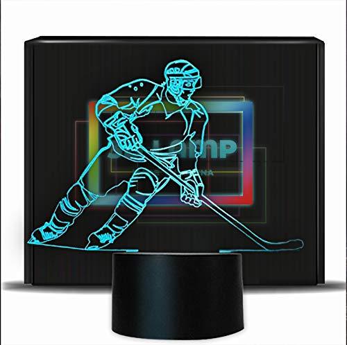 PONLCY Neuheit 3D Illusion Lampen LED Eishockey USB 7 Farben Sensor Schreibtischlampe für Kinder Weihnachten Geburtstagsgeschenke Dekoration