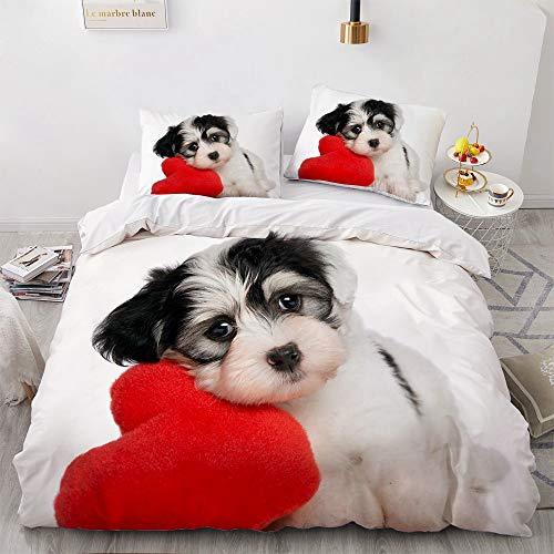 NEWAT Juego de ropa de cama cálida con estampado de animales 3D, funda de edredón, diseño de gato y perro, funda de edredón de microfibra para dormitorio infantil (K,140 x 210 cm)