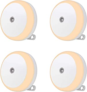 LED Night Light, Energy Saving Night Light with Diffused Light, Dusk to Dawn Sensor, Plug in Nightlight for Bedroom, Bathroom, Hallway, Stairs, Kids Room, Warm White, 4 Pack (M1801)