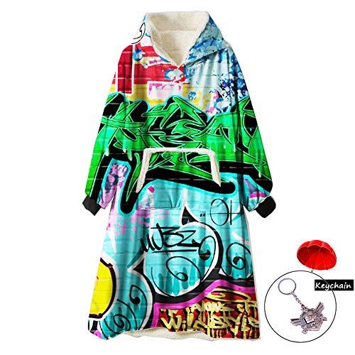 ZUICHU oversize sweatshirt met capuchon, zachte tv-dipinta, zachte trui van fleece, warm, geschikt voor heren, dames, meisjes, meisjes (eenheidsmaat, met sleutelhanger)