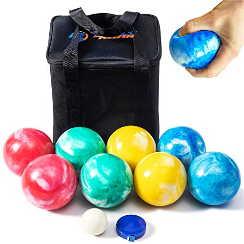 SOFT Rubber 84mm Bocce Ball Set for Indoor/Outdoor by Rally & Roar-...