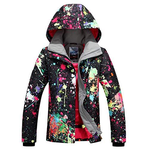APTRO Damen Skijacke warm Jacke gefüttert Winter Jacke Outdoor Funktionsjacke Regenjacke Schwarz 9896 L