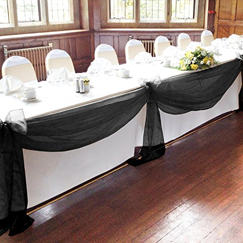 "Vlovelife Black 197""x53"" Sheer Organza Top Table Swag Fabric Table Runner Chair Sash Wedding Car Party Stair Bow Valance Decorations"