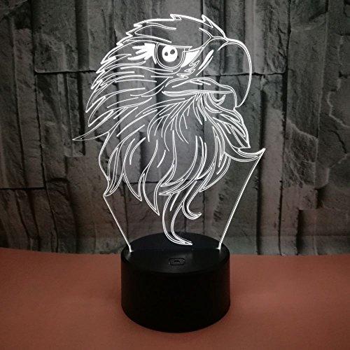 3D LED leuke vogel nachtlampje 7 kleuren touch-schakelaar nachtlampje met afstandsbediening en USB-kabel, perfect cadeau voor kinderen