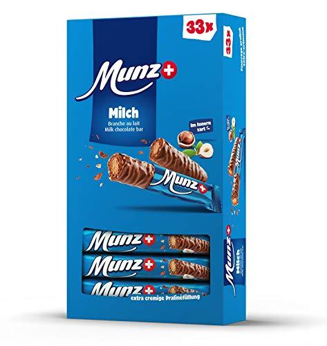 Schweizer Schokolade | MUNZ Prügeli Milch | Branches Classic | 33 Praliné Schokoladenriegel á 23g im Thekendisplay | 759g Großpackung | Maestrani Milchschokolade | Glutenfrei
