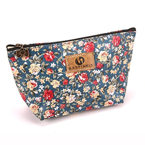 Yesiidor Portable Cosmetic Bag with Bow Zipper Multifunction Wash Bag Pen Storage Bag Purse Coin Purse, Pink Small Floral