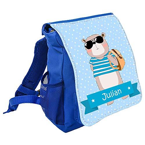 wolga-kreativ Kleiner Rucksack Kindergartentasche Cooler Bär Kinderrucksack Kindergartenrucksack Mädchen Jungs Kinder mit Namen Tagesrucksack Kindergarten Kindertasche
