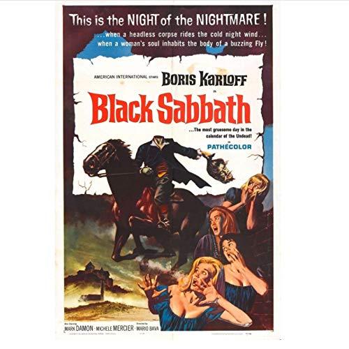WTHKL Carteles e Impresiones de películas de Black Sabbath Pintura en Lienzo Pinturas de Arte de Pared para decoración de Sala de Estar -50x70 Cm sin Marco 1 Uds