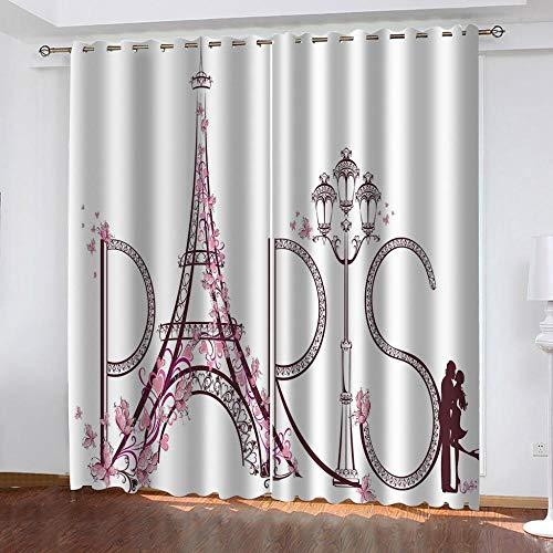 Cortinas Opacas Torre Eiffel Poliéster Cortinas con Ojales Ahorro de Energía y Reducción de Ruido para Salon Cocina Habitación de Dormitorio 2 Piezas, Tamaño Total 150x166 cm