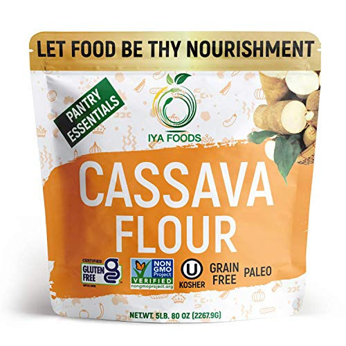 Iya Foods Premium Cassava Flour 5 lbs. bags, Plant-Based, Grain-Free, Certified Gluten-Free, Kosher Certified, Non-GMO Verified, Paleo All-Purpose Flour. Made From 100 % Cassava Yuca Root.