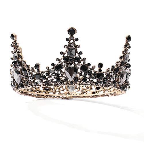 Mayelia Barock Braut Hochzeit Krone schwarz Kristall Braut Queen Krone und Tiaras Braut Stirnband für Frauen und Mädchen