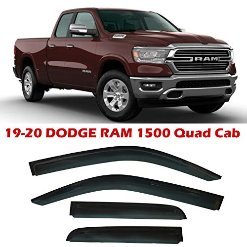 Optimal Co Smoke Tinted Side Window Vent Visor Deflectors Rain Guards for fit for Dodge Ram 1500 Quad Cab 2019 2020 Only - 4 Piece Set