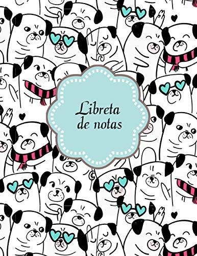 Libreta de Notas: Libreta Rayada con tema de Perros Corgi Pugs Hoja Blanca 8.5 x 11 in (21.59 x 27.9 cm) 120 paginas