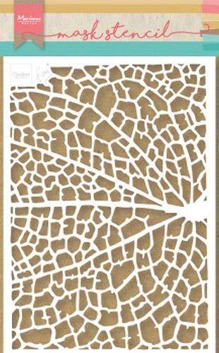 Marianne Design PS8041 Stencil Tiny's Leaf Grain Kunst und Handwerk Mask Schablone, Blattkorn, für Scrapbooking, Kartengestaltun und Papierbasteln, plastik, Wei, S