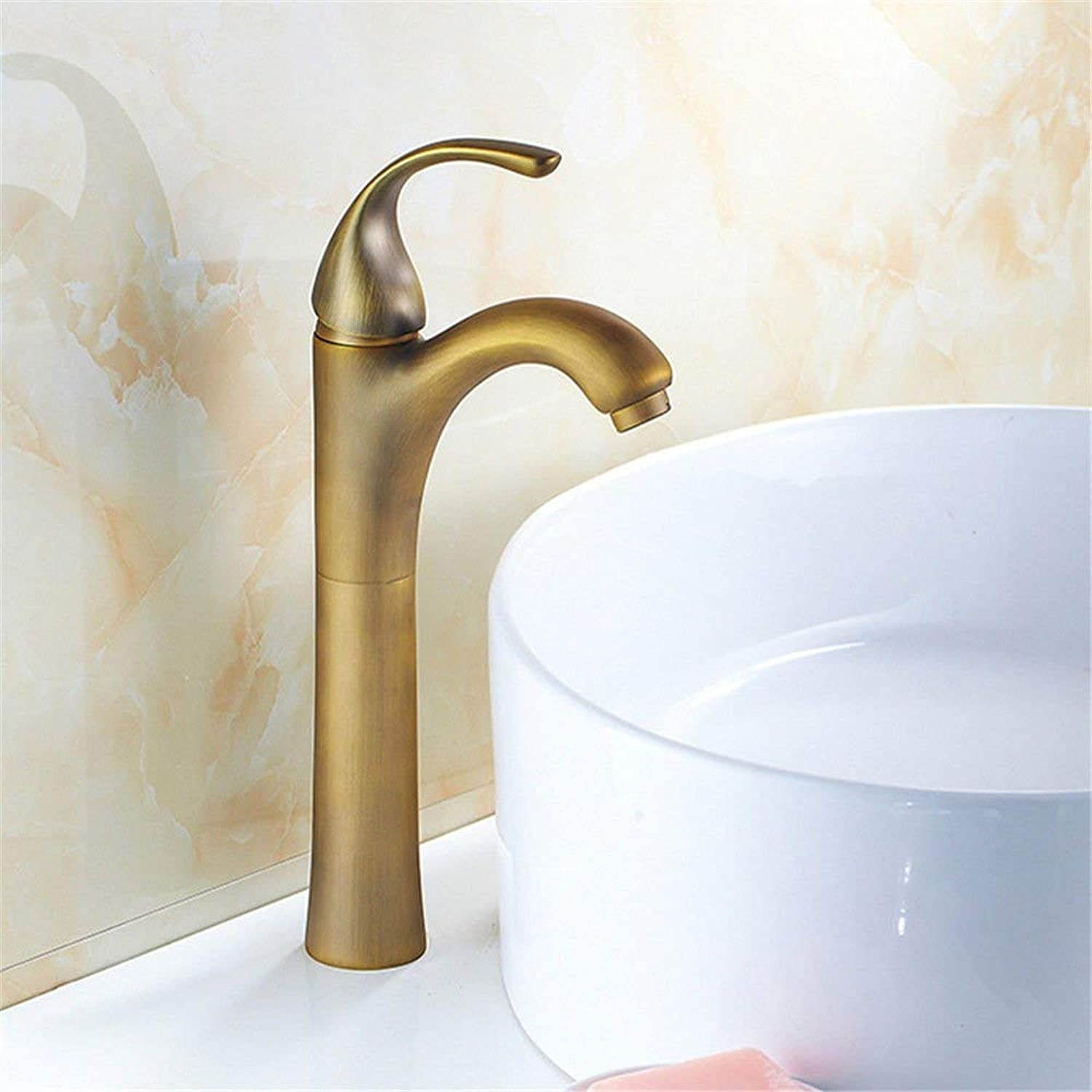 FERZA home Sink Mixer Tap Bathroom Kitchen Basin Tap Leakproof Save Water Retro Copper Bamboo Sink