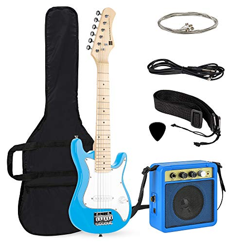 Best Choice Products 30in Kids Electric Guitar Beginner Starter Kit w/ 5W Amplifier, Strap, Case, Picks - Light Blue