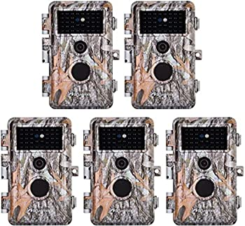 5-Pack No Glow Game Deer Trail Cameras Night Vision 24MP Photo 1296P H.264 MP4 Video for Wildlife Hunting & Home Security Motion Activated Waterproof Password Protected Time Lapse Photo & Video Model