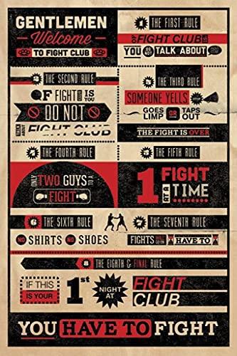 Fight Club Rules Infographic Maxi-Poster der Grösse 61 x 91,5 cm