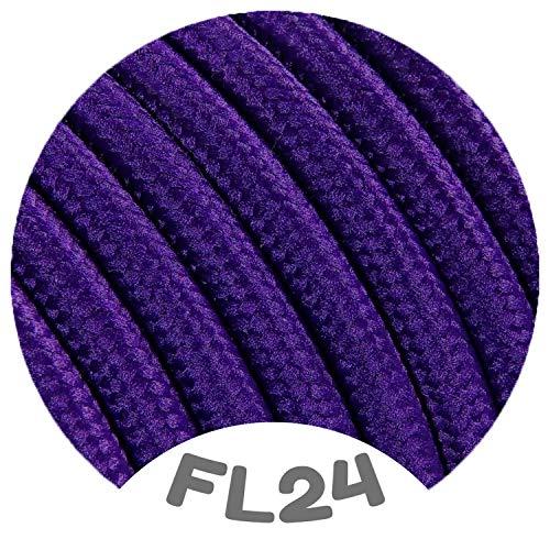 Flairlux Textilkabel für Lampe lila 20 Meter 2 adrig Stoffkabel (2x0,75mm²) - FL24