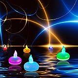 Itian Conjunto de 12 Flotantes, Velas LED, Luces Coloridas Cambio del Estado de ánimo, a Prueba de...