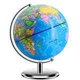 World Globes for Kids - 9 Inch Diameter - Educational World Globe with Stand Adults Desktop Geographic Gobles Discovery World Globe Educational Toy for Children - Geography Learning Toy